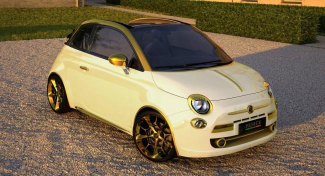Позолоченный Fiat 500C стоимостью 500 000 евро