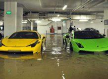 Затопленная парковка в Сингапуре