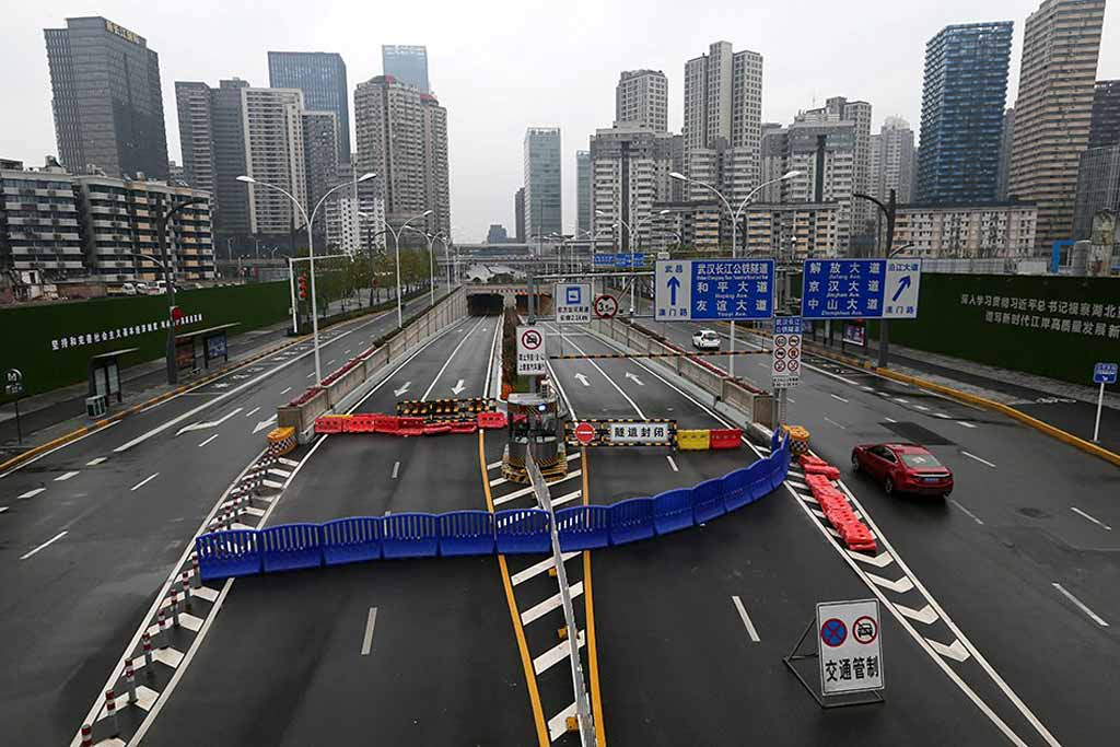 Пустые улицы в Китае