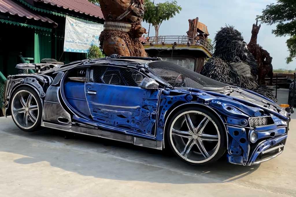 Умельцы построили из мусора копию Bugatti Chiron: его можно купить